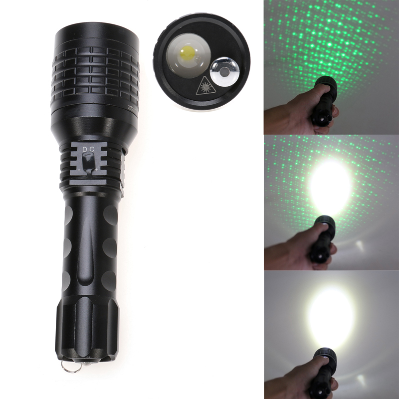 1600 Lumens 2 in1 Rechargeable LED+Green Laser Starry Flashlight Zoomable Tactical Focus Torch Flash Light by 1*18650 or 3*AAA led 1600 lumens 3 mod zoomable fashlight t6 light 3 aaa 1 18650 rechargeable flash light head torch lantern lamp