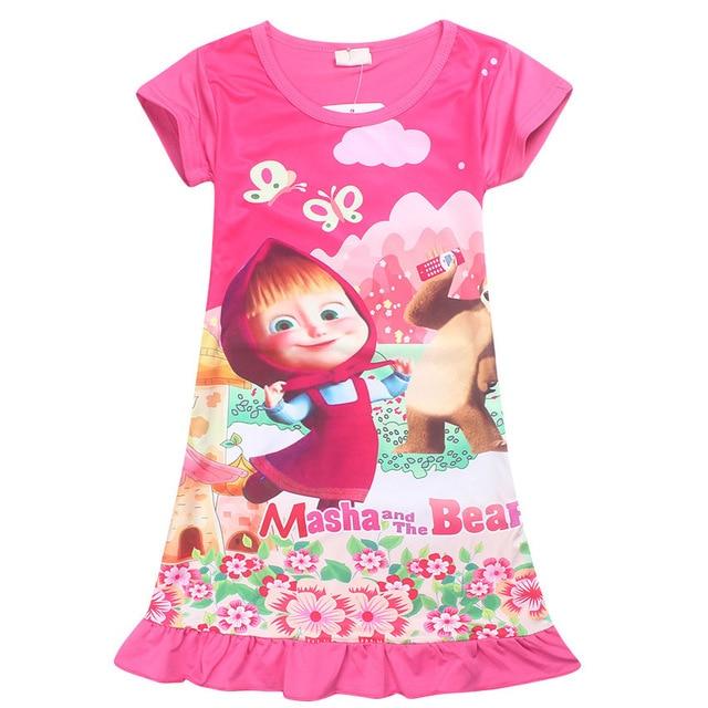 48636ca7d Masha and Bear Girls Dresses for 2 9 Years Kids Sleep Clothes ...