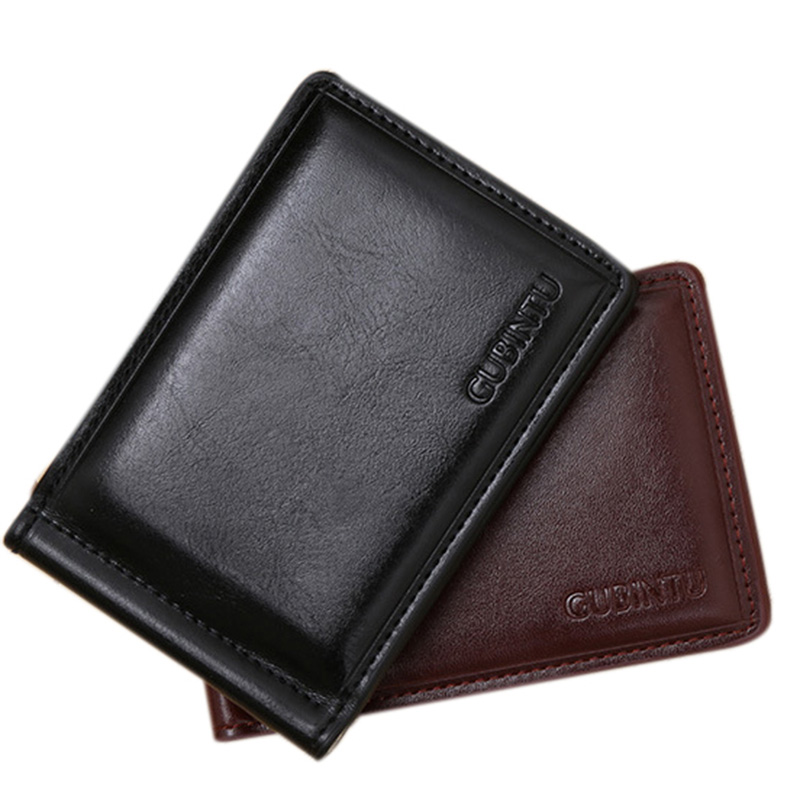 2017 New Fashion Men PU Leather Money Clip Clamp Wallet