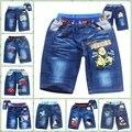 Despicable Me 2 Minions & Spiderman boys  jeans shorts cotton childrens short babys cartoon style
