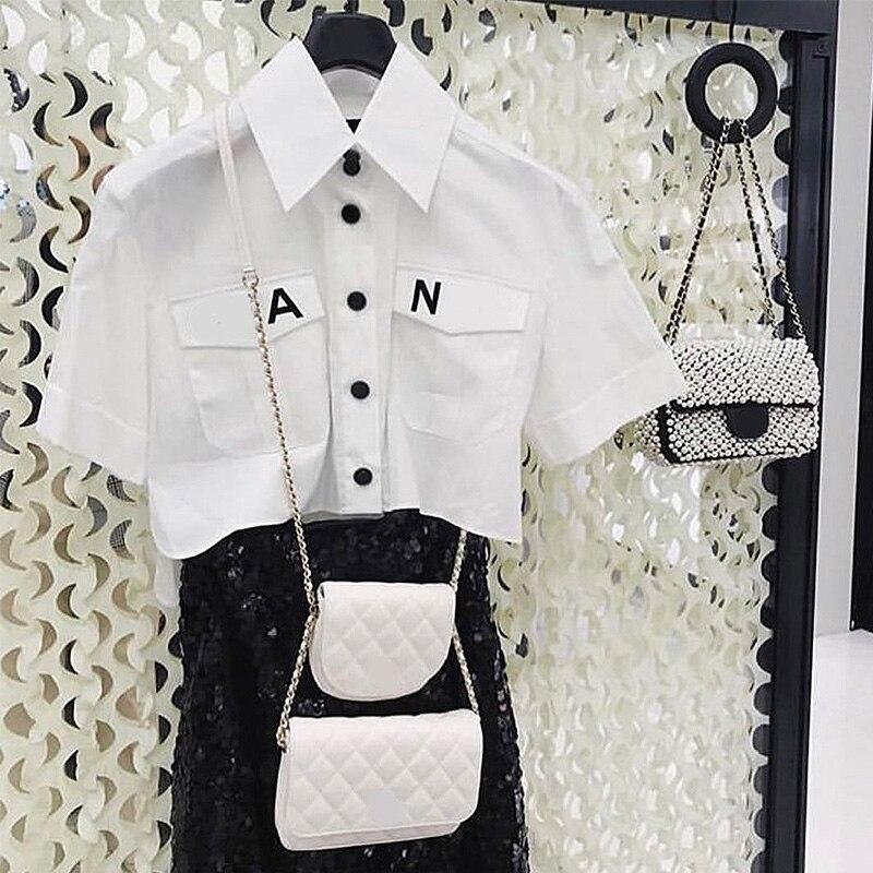 Nouveau femmes 2019 mode col poche chemise Blouse chemise lettre imprimer lâche décontracté Blosues hauts dames Blusa livraison gratuite
