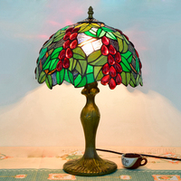 Hot Sale 30CM Retro Art Glass Living Room Restaurant Table Lamp American Pastoral Green Grape Decorative