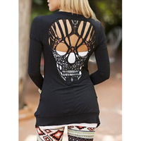 Autumn Long Sleeve Hollow Out Oversized Skull Pattern Cardigan Women Blouse Sexy Backless Crochet Lace Long