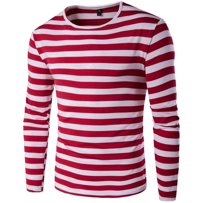 New mens t shirts fashion 2017 summer striped slim fit for Mens striped long sleeve t shirt