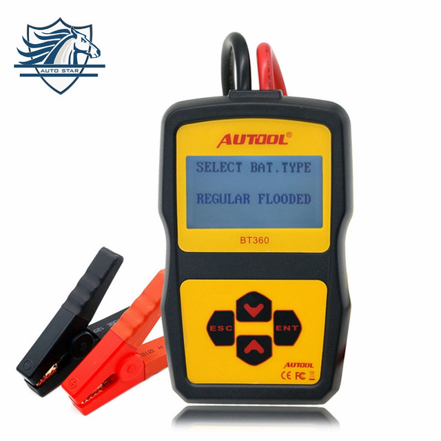Multi-language AUTOOL BT360 12V Digital Car Battery Tester for Flooded AGM GEL BT-360 12 Volt Automotive Battery Analyzer CCA