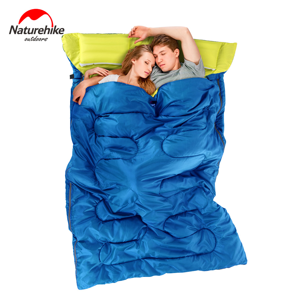 NatureHike Outdoor Double Sleeping Bag Envelope Style Camping Hiking Portable Sleeping Bag with Pillow Spring and Autumn цена 2016