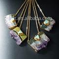 Atacado elemento fatia ametista crua com turquesa pingente colar, moda colar de ametista WT-N411 uraguay