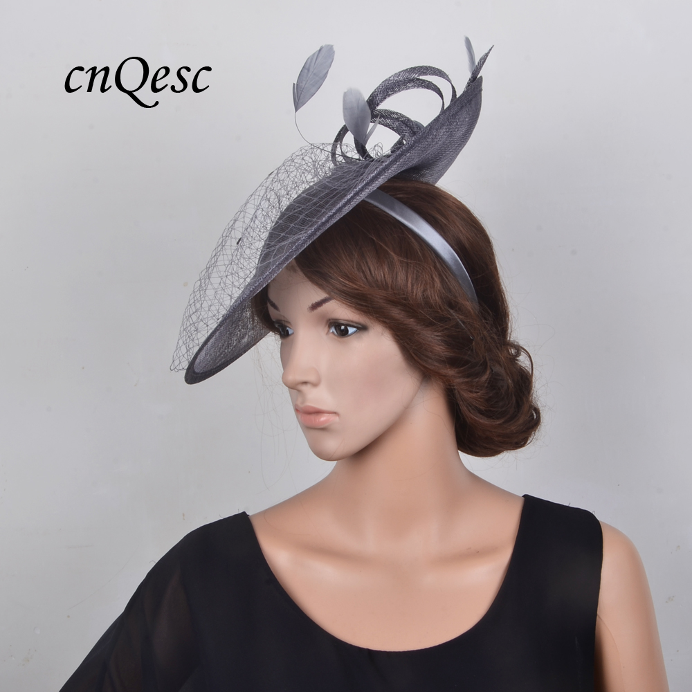 silver fascinator the races Hatinator for wedding