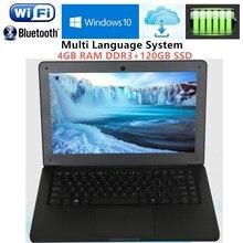 4GB RAM+120GB SSD 13.3 Inch Intel i3 Dual Core 1.9Ghz Four thread Ultrabook Laptops WIFI HDMI WEBCAM USB3.0 notebook Free DHL