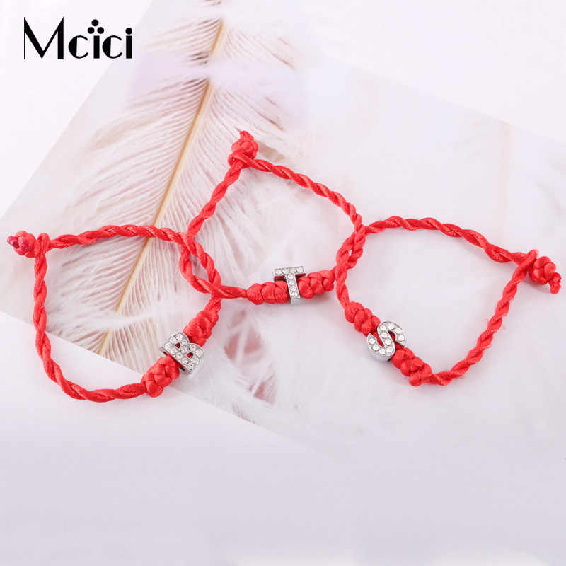1PC A-Z 26 Letters Red Thread String Letters Charm Bracelets Red Rope Charm Women Lucky Bracelet Aolly Jewelry Gift For Couple