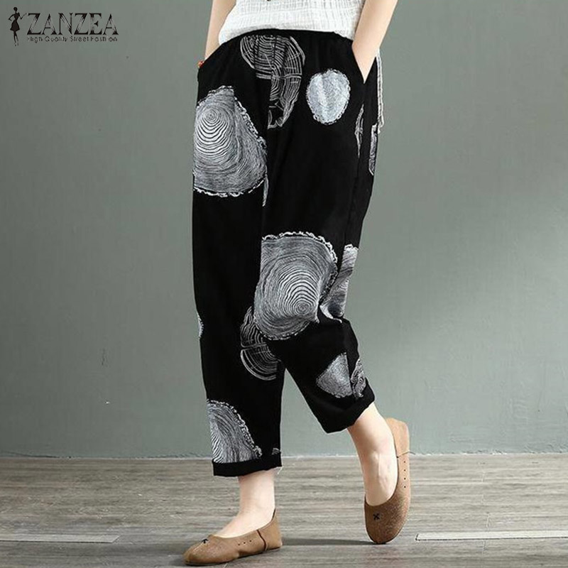 Casual Linen Pants Women's Trousers ZANZEA 2020 Vintage Printed Polka Dot Pantalon Female Elastic Waist Turnip Pants Plus Size
