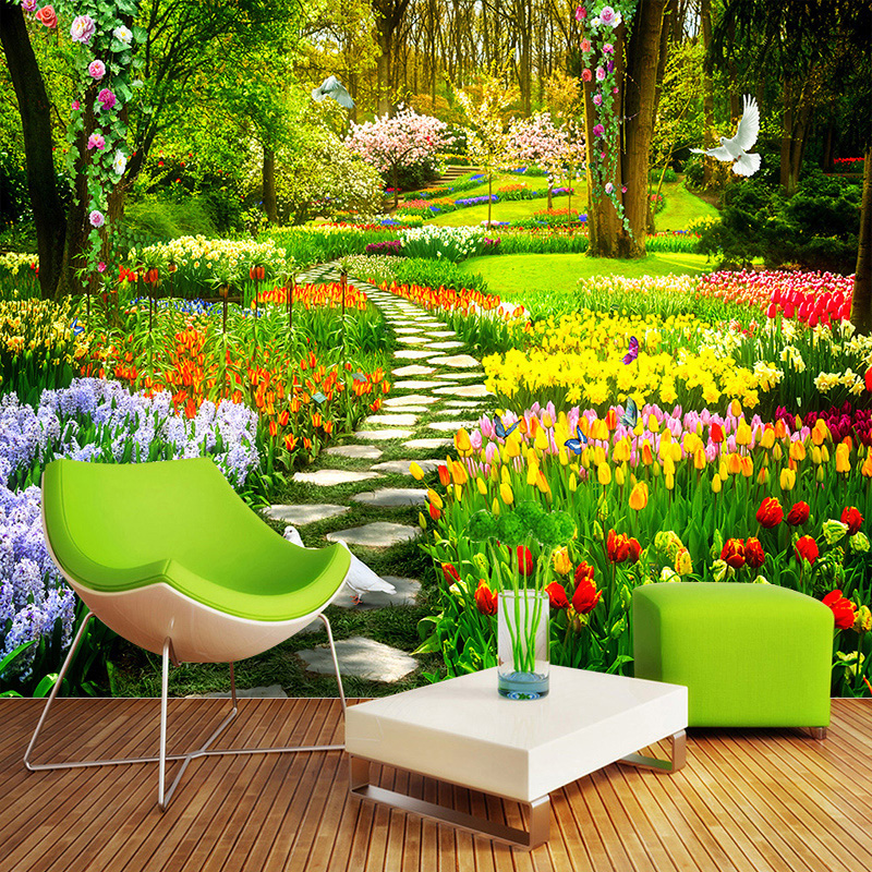 Custom 3D Nature Flowers Garden Path Photo Mural Wallpaper Living Room Bedroom Home Decor Background Wall Covering Papel Murals