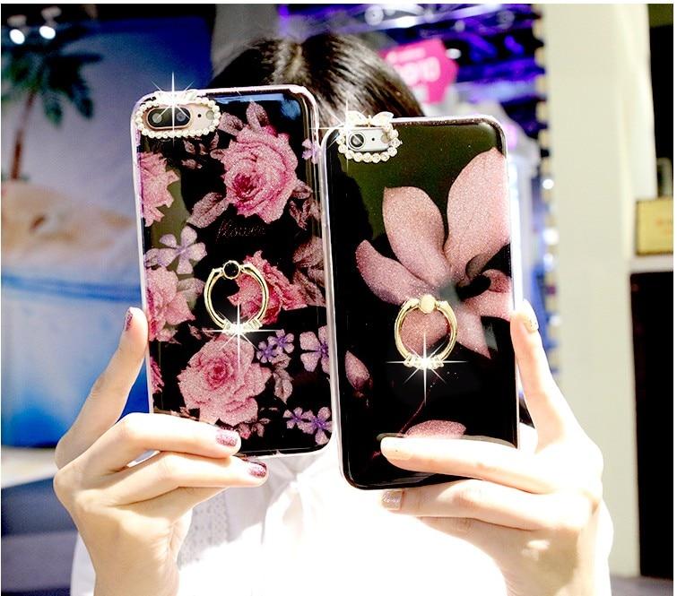 BotexBling fiori di Lusso staffa di Scintillio del gufo cassa del telefono per il iphone casi X 8 8 più di 6 6 s 6 più 6 splus 7 7 plus orecchie di coniglio della copertura