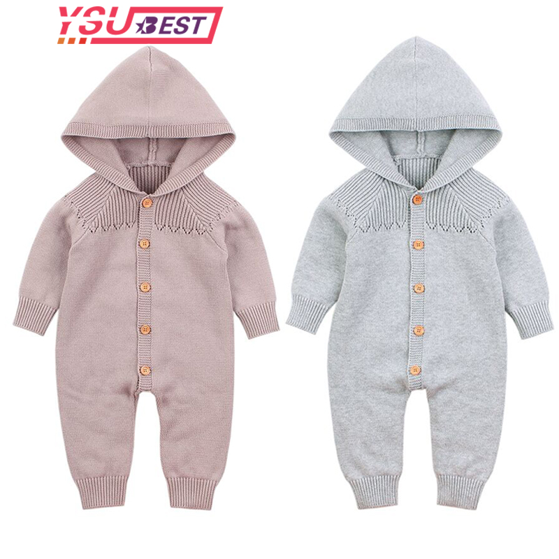 Newborn Baby Rompers 2019 Spring Long Sleeves Overalls for Toddler Girls Jumpsuits Cotton Knitted Infant Boys Outfits One Pieces