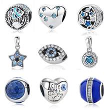 982087cdad9d5a Originale 925 Sterling Perline D'argento di Fascino Del Cuore Star  Distanziatore di Cristallo Blu Pendenti e Ciondoli Fit .