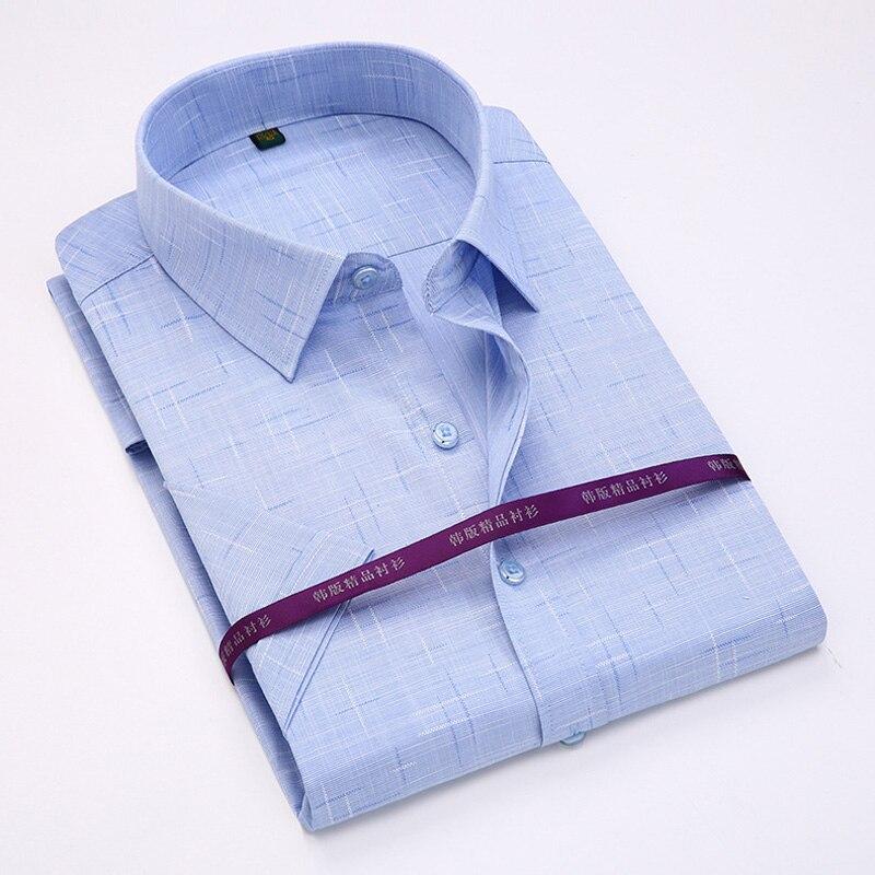 2017-es nyári férfiak rövid ujjú póló Regular Fit vékony ing magas minőségű alkalmi üzleti ingek Férfi ruhák camisa masculina