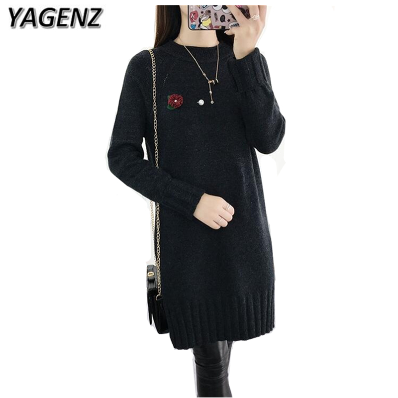 YAGENZ Women Pullover Sweater2017 Winter New Korean Slim Sweater Solid Knitted Casual Medium-long long-sleeved Knitted Plue size