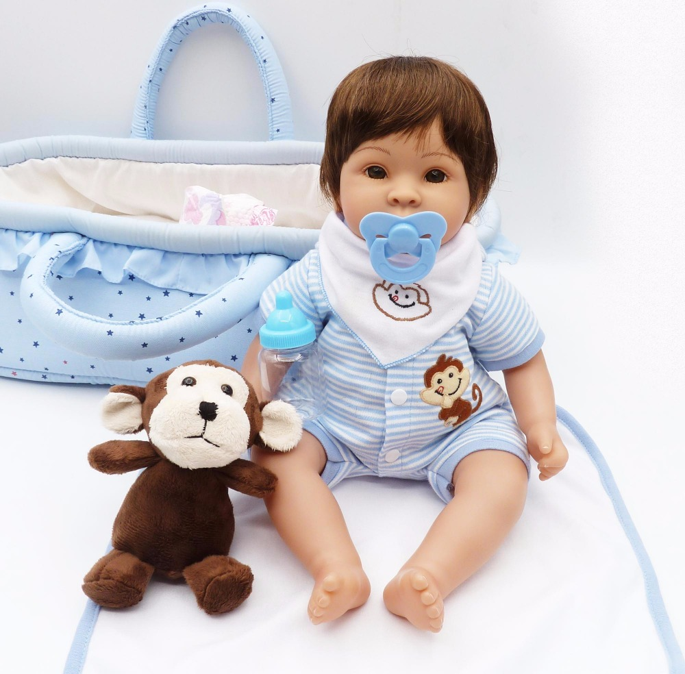 NPK sleeping basket reborn baby toy dolls 17 41cm soft silicone vinyl reborn baby girl dolls
