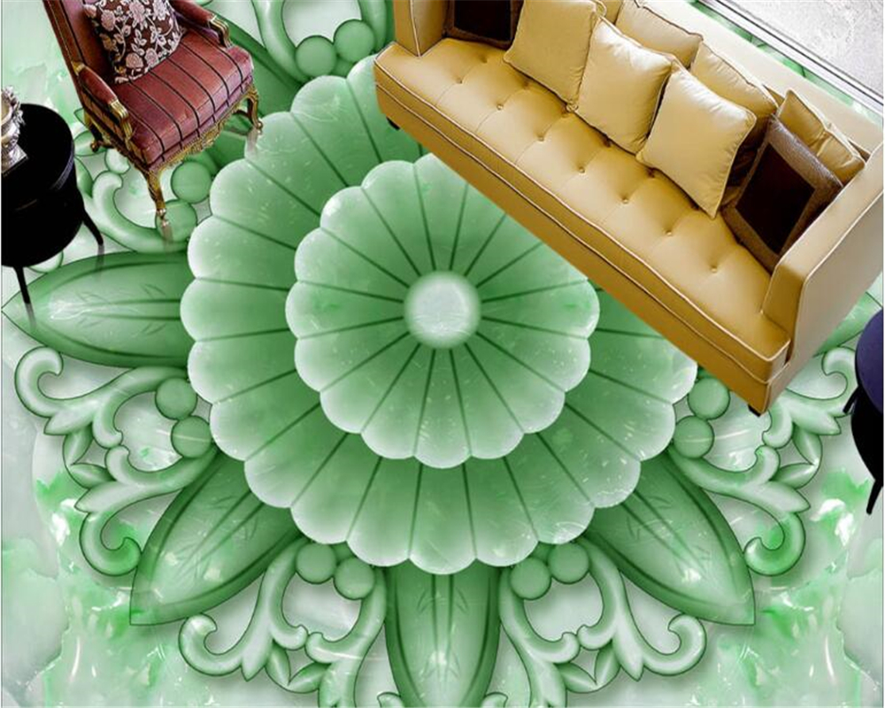beibehang Fashion decorative painting three-dimensional PVC 3D wallpaper 2018 New classic flower jade carving relief 3d floor