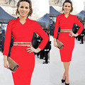 High Quality V-Neck Pencil Dress Women Spring Autumn Clothing Vestidos Plus Size Long-Sleeved Bodycon Tight Dress Party Dress