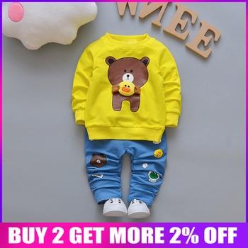 11911c5c6 BibiCola niño conjuntos de ropa de niño de bebé de primavera conjuntos de  algodón bebé chándales niños deporte Oso de dibujos animados abrigos +  Pantalones ...