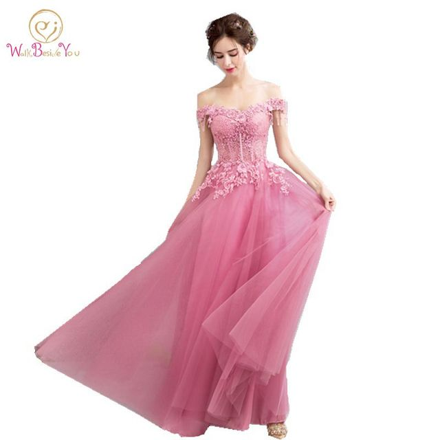 vestidos largos de fiesta elegante Lilac Pink Sexy Prom Dresses See Through Off the Shoulder Lace Beaded Long Party Formal Gowns-in Prom Dresses from ...
