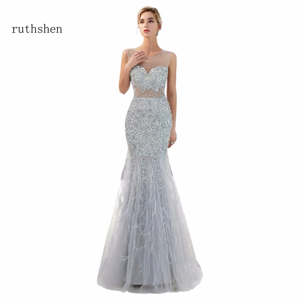 ruthshen Long Sleeveless Illusion   Evening     Dress   2018 New Sexy Backless   Evening   Gown Mermaid Elegant Prom   Dress   Vestido De Festa