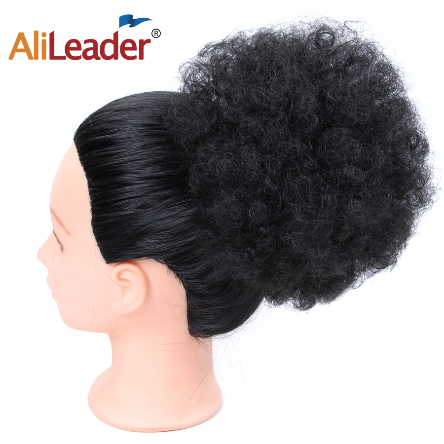 Alileader Hair Bun Black Brown Blonde Chignon Hairpiece Fake Ponytail Hair Extensions Wig With Clip Afro Curly Hair Style