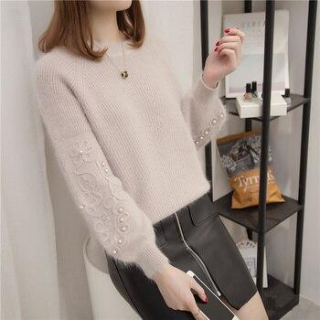 2019 Rhinestone Ans Faux Fur Embellished Cuff Jumper Grey Crew Neck Casual Pullovers Autumn Elegant Long Sleeve Sweater