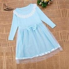 2016 Summer Bow Girls Dress Long Sleeve Dresses Cotton Girl Autumn Dress Kids Children Clothing