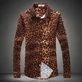 Европейский и Американский стиль тенденции моды печати Леопарда рубашка 2016 Осень и Зима новый моды случайные высокого качества для мужчин рубашки М-5XL