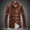 Tendencia de la moda de estilo europeo y Americano camisa de estampado de Leopardo 2016 Otoño E Invierno nueva moda casual de alta calidad camisa de los hombres M-5XL