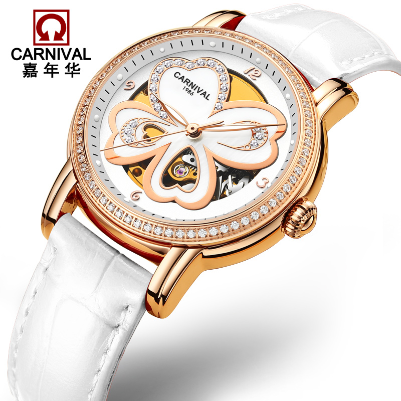 купить CARNIVAL Luxury Tourbillon mechanical watches Women Fashion Automatic Watch Women Leather band Luminous Dress relogio automatico по цене 5099.81 рублей