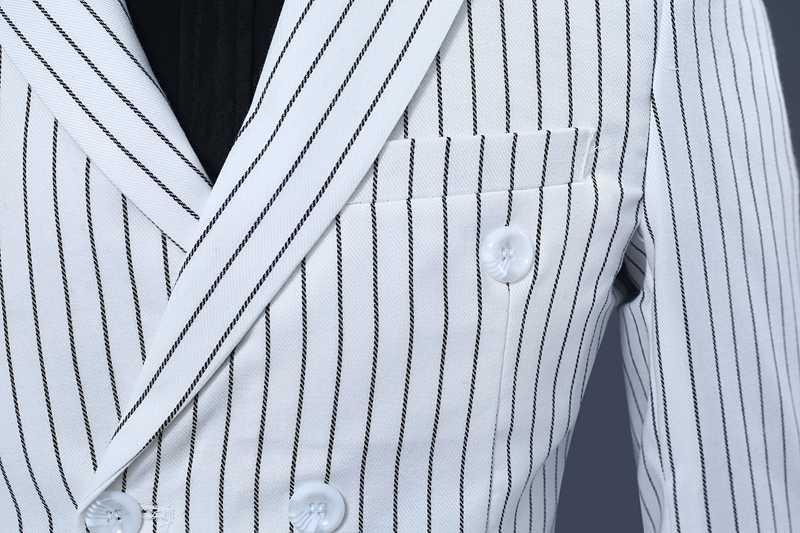 ファッション白の縦縞ダブルブレストスーツ男性 2019 新しいウェディング新郎タキシード 2 ピーススーツメンズ衣装オムマリアージュ