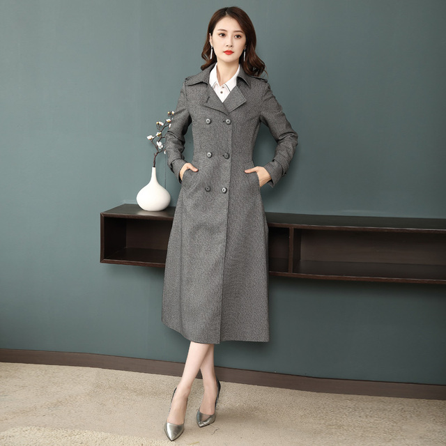 886a0baa0a407 Brand Design 2018 New Spring Trench Coat Women Fashion Double Breasted Suit  Collar Dark Gray Slim Long Style Womens Windbreakers