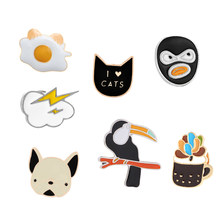 Funny Cartoon Brooch Cat Dog Bird Cloud Poached Egg Black Face Icons Enamel Pins For Women Men Bag Backpack Badge Button Pin(China)
