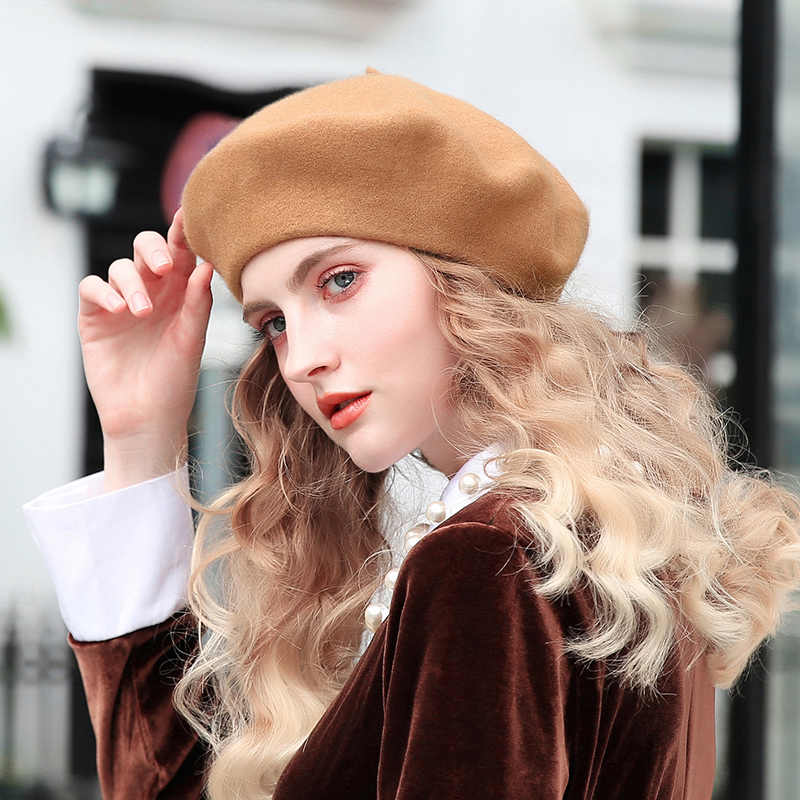 66b58efebef03 ... Slouchy 100% Pure Wool Felt Beret Women Fashion British Style Girls  Beret Hat Lady Solid ...