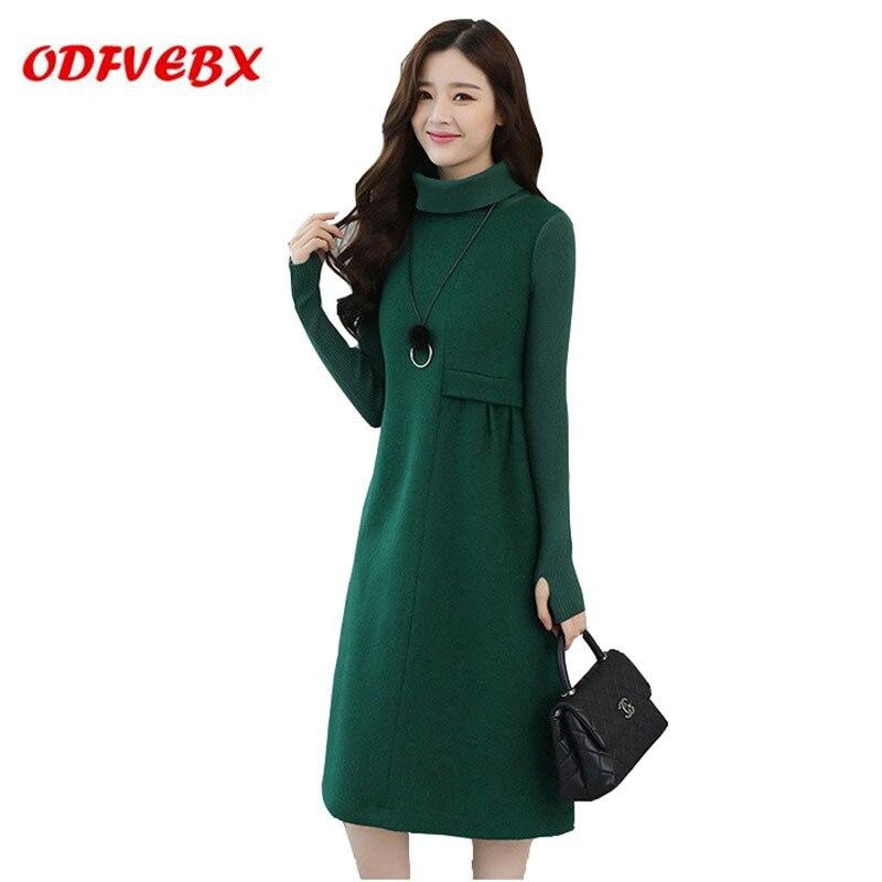 2019 automne hiver nouveau froid femmes robes en laine un mot à manches longues robe de fond filles matures boutique robes de femmes