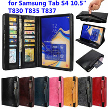 Luxury Business Book Style Flip Case Voor Samsung Galaxy Tab S4 10.5 inch T830 T835 T837 Genuine Leather Wallet With Card Slots