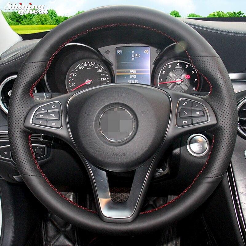 Brillant blé cousu Main Noir En Cuir Véritable Couverture De Volant de Voiture pour Mercedes-Benz W205 C180 C200 C260 C300 B200