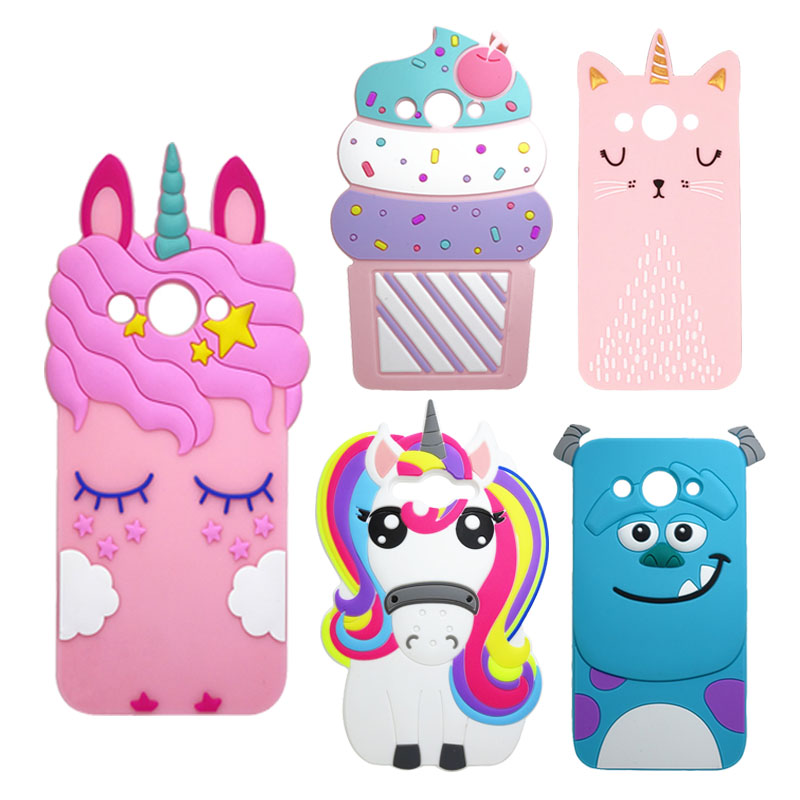 3D Cartoon Unicorn Cat Ice Cream Silicon Cover For Huawei Y3