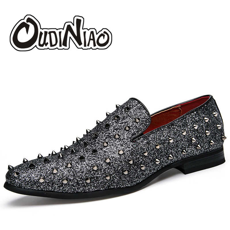 OUDINIAO Night Club Rivet Shoes Men Luxury Loafers Men Shoes British Style Summer Shoes Mens Casual Zapatillas Hombre fashion young man red casual shoes men luxury high top toe mens falts british trend flat heel men s loafers shoes