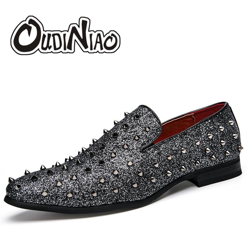 cinza Club Luxo Zapatillas Britânico Casual Preto Verão De Hombre Mocassins Oudiniao Sapatos Homens Night Estilo Rebite Mens 1wx455aq