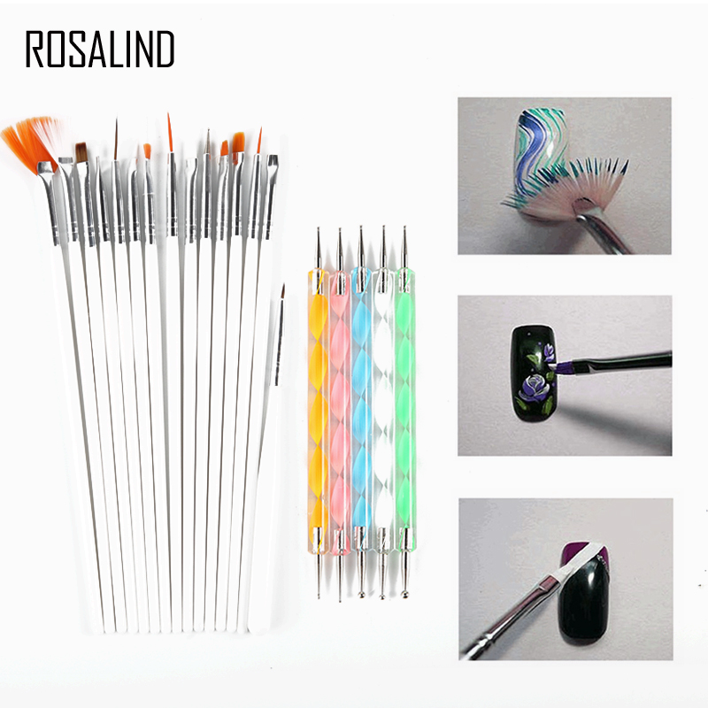 ROSALIND 15 PCS Nail Art Brush+5PCS Nail Dotting Pens Decorations Set Tools Professional Painting Pen Nail Tips UV Nail Brush diy professional nature toe nail tips white 500 pcs