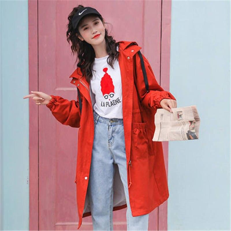 2019 New Fashion Windbreaker Women Spring Autumn Korean Chic Tooling Hooded Drawstring British Long   Trench   Coat Female X385