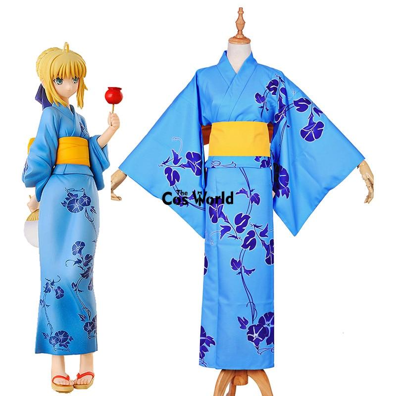 Fate Zero Stay Night Saber Light Blue Kimono Yukata Dress Uniform Outfit Anime Cosplay Costumes