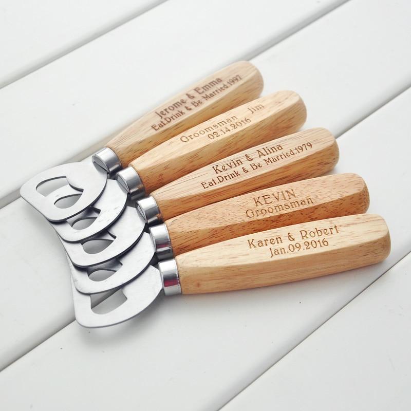 Personalized Wood Beer Bottle Opener - Engraved Groomsmen Gift custom wedding gift