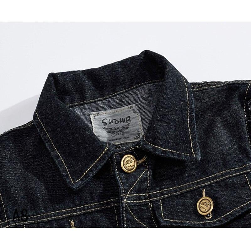 Image 3 - FALIZA Denim Vest Mens Jackets Sleeveless slim black Outerwear mens denim Coats jackets Tank Top Cowboy Male Ripped Jacket MJ Idenim vests menvest menmens jacket sleeveless -