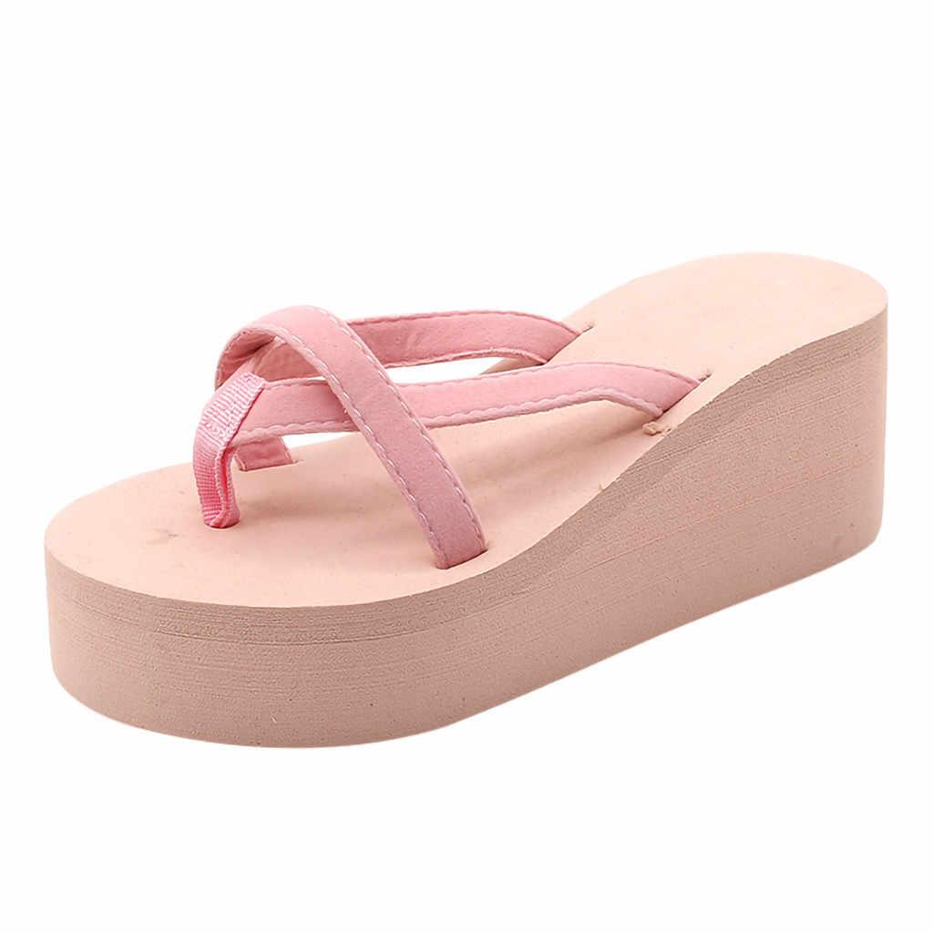 Kadın moda yaz tıknaz taban takozlar topuklu Flip flop rahat ayakkabılar yeni su geçirmez tayvan terlik seksi bayan sandalet 7J10