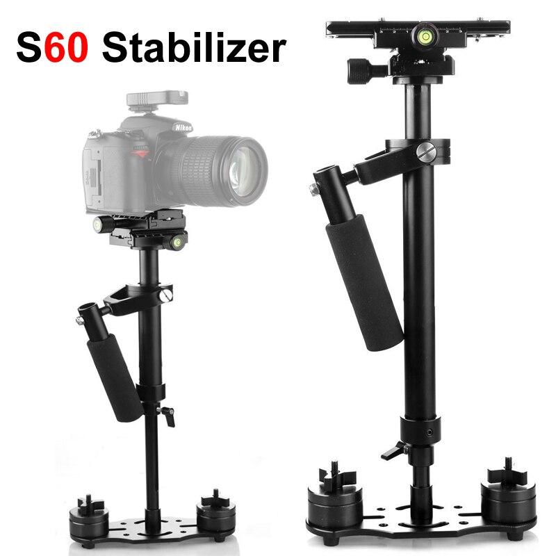 S60 60cm Photo vidéo en alliage daluminium stabilisateur de poche prise de vue stabilycam DSLR steeryam pour caméscope appareil Photo reflex numérique Canon Nikon